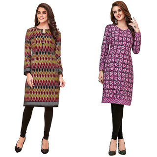 HRINKAR Multicolor and  Cotton Readymade kurti for girls - HRMKRCMB0092-L