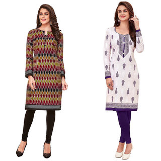 HRINKAR Multicolor and  Cotton Readymade kurti for womens cotton - HRMKRCMB0076-L
