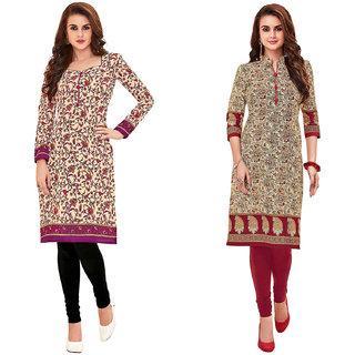HRINKAR Yellow and Pink Cotton Readymade kurti for girls stylish - HRMKRCMB0171-L