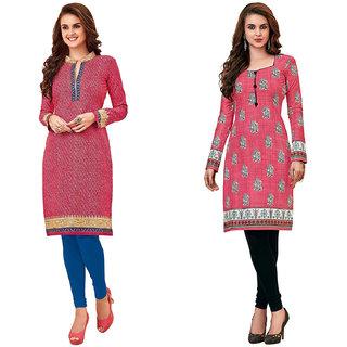 HRINKAR Pink and  Cotton Readymade women kurti formal - HRMKRCMB0237-L