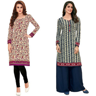 Buy Hrinkar Yellow And Pink Cotton Readymade Long Tops For Women