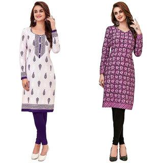 HRINKAR White and Purple Cotton Readymade regular kurti - HRMKRCMB0295-L