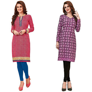 HRINKAR Pink and  Cotton Readymade long tops for women kurti - HRMKRCMB0242-L
