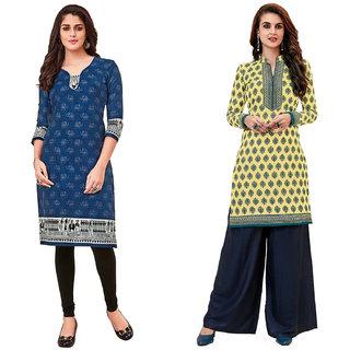 HRINKAR Blue and  Cotton Readymade kurti for girls stylish - HRMKRCMB0275-L