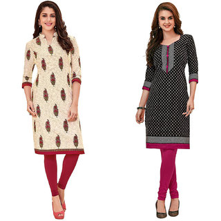 HRINKAR Multicolor and Yellow Cotton Readymade kurties for womens cotton - HRMKRCMB0323-L