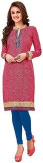 HRINKAR Pink and  Cotton Readymade long tops for women kurti - HRMKRT1659-L