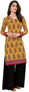 HRINKAR Yellow and Grey Cotton Readymade kurties fancy for women - HRMKRT1671-L