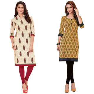 HRINKAR Multicolor and Yellow Cotton Readymade long tops for women kurti - HRMKRCMB0307-L