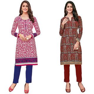 HRINKAR White and Pink Cotton Readymade kurti for women cotton - HRMKRCMB0448-L