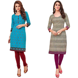 HRINKAR Light Blue and Multicolor Cotton Readymade kurti for women - HRMKRCMB0491-L
