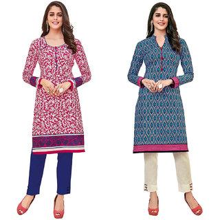 HRINKAR White and Pink Cotton Readymade kurti for girls stylish - HRMKRCMB0457-L