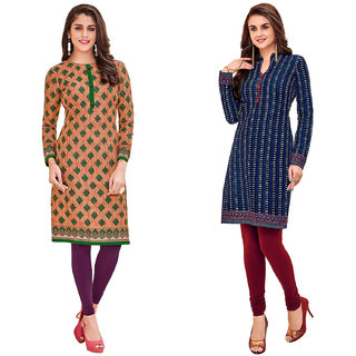 HRINKAR Green and Beige Cotton Readymade kurti for women cotton - HRMKRCMB0526-L