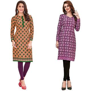 HRINKAR Green and Beige Cotton Readymade regular kurti - HRMKRCMB0529-L