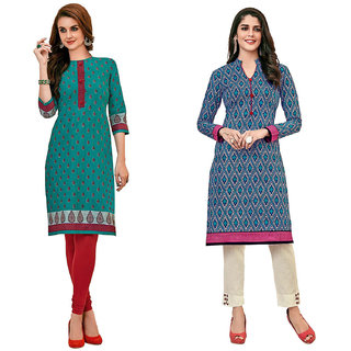HRINKAR Green and Red Cotton Readymade kurties fancy for women - HRMKRCMB0592-L