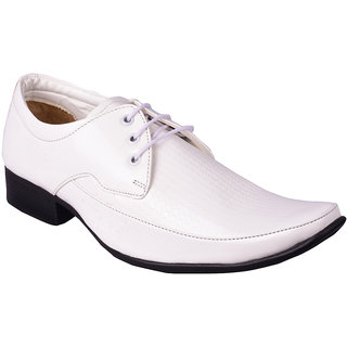 MOZOORO MENS WHITE DERBY FORMAL SHOES
