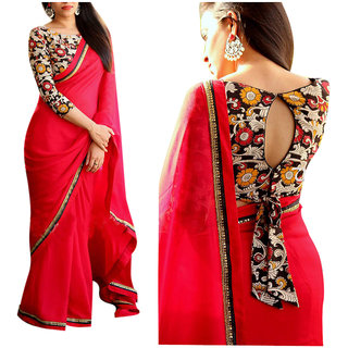 f678556164ee3 Buy Srk Red Colour Georgette plain Border Work Saree KD-017-A Online   ₹999  from ShopClues