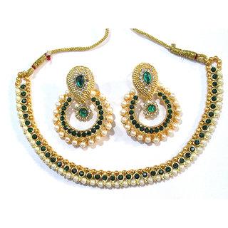 Green Stone pearl polki necklace set
