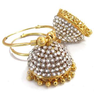 rabbi gold plated with diamond big khusi jhumka earrings buy