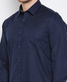 Connect Navy Blue Dott Printed Shirt for Men 100 Cotton