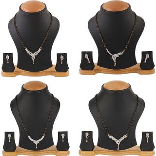 Chrishan Gold Plated Marvelous Fashionable American Diamond Mangalsutra Combo Set For Women.