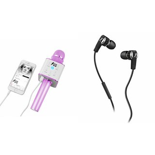 Mirza Q7 Microphone and Earphone Headset for MICROMAX CANVAS SILVER 5(Q7 Mic and Karoke with bluetooth speaker | Earphone Headset )