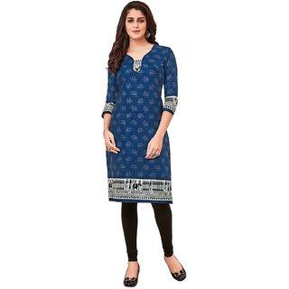 HRINKAR Blue and  Cotton Readymade regular kurti - HRMKRT1660-L