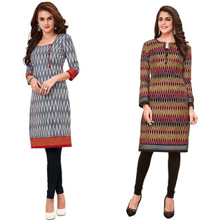 HRINKAR Grey and Red Cotton Readymade kurti for girls stylish - HRMKRCMB0002-L