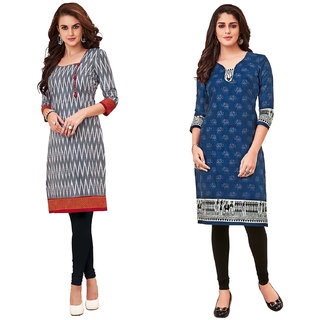 HRINKAR Grey and Red Cotton Readymade long tops for women kurti - HRMKRCMB0008-L