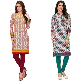 HRINKAR Multicolor and  Cotton Readymade kurti cotton round neck - HRMKRCMB0069-L