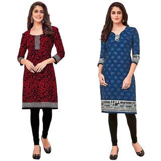 HRINKAR Red and Black Cotton Readymade long tops for women kurti - HRMKRCMB0138-L