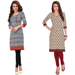 HRINKAR Grey and Red Cotton Readymade kurti for girls - HRMKRCMB0014-L