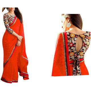 4568aae21f01c Buy Srk Orange Colour Plain Georgette Border Work Saree Online   ₹999 from  ShopClues