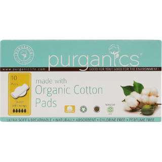 Purganics Organic Cotton Sanitary Pads For Super Flow