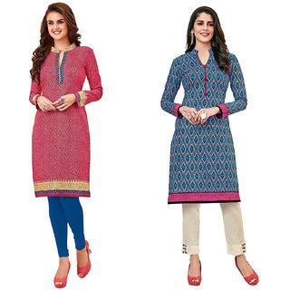 HRINKAR Pink and  Cotton Readymade women kurti formal - HRMKRCMB0250-L
