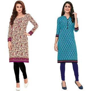HRINKAR Yellow and Pink Cotton Readymade kurti fancy for women - HRMKRCMB0189-L