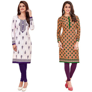 HRINKAR White and Purple Cotton Readymade Kurti for girls - HRMKRCMB0291-L
