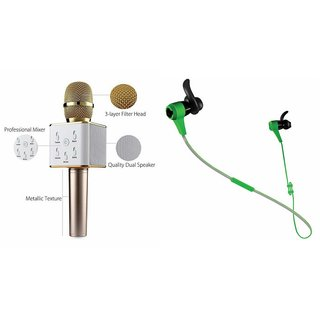 Mirza Q7 Microphone and Reflect Earphone Headset for GIONEE GN715(Q7 Mic and Karoke with bluetooth speaker   Reflect Earphone Headset )