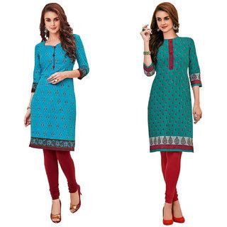 HRINKAR Light Blue and Multicolor Cotton Readymade kurti cotton round neck - HRMKRCMB0485-L