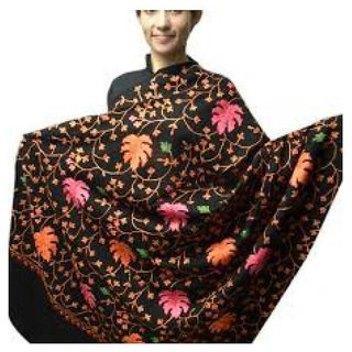 Aari Zaal Full Work Black (Kashmiri) Shawl Branded Quality