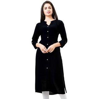 Aarnaa Women Casual Kurti 3/4th Sleeve Mandarin Collar Black Rayon Kurta