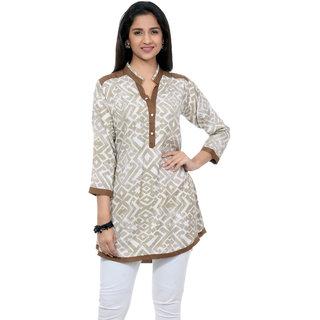 Aarnaa Women Casual Tunic 3/4th Sleeve Mandarin Collar Beige Viscose Short Kurti