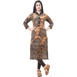 Aarnaa Women Casual Kurti 3/4th Sleeve Mandarin Collar Brown Cotton Kurta