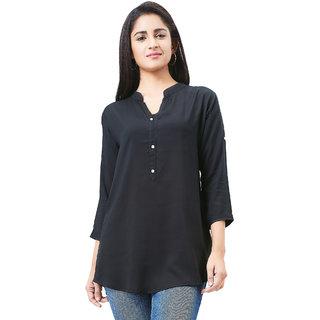 Aarnaa Women Casual Tunic 3/4th Sleeve Mandarin Collar Black Muslin Short Kurti