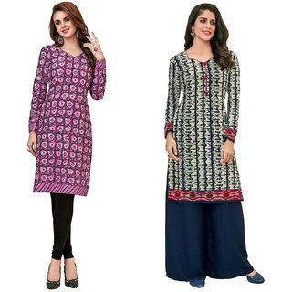 HRINKAR Purple and  Cotton Readymade long tops for women kurti - HRMKRCMB0580-L