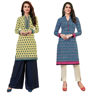 HRINKAR Yellow and Green Cotton Readymade kurti for womens cotton - HRMKRCMB0622-L