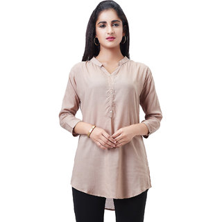 Aarnaa Women Casual Tunic 3/4th Sleeve Mandarin Collar Beige Muslin Short Kurti