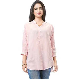 Aarnaa Women Casual Tunic 3/4th Sleeve Mandarin Collar Light Pink Muslin Short Kurti