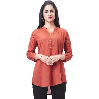 Aarnaa Women Casual Tunic 3/4th Sleeve Mandarin Collar Brown Muslin Short Kurti