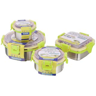 Buy Rema Nexa Set Of 4 Steel Lock Storage Container Green Online