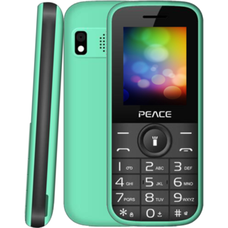 Peace P3 Green Black 1.8 Inch Dual Sim Mobile Phone With 850 mAh Battery Camera Torch 1 Year Manufacturer Warranty